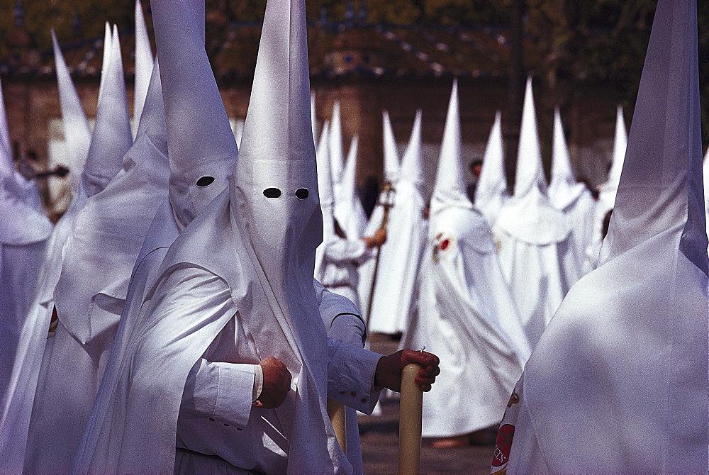 People in white, Semana Santa, Seville Andalusia, Spain, Andalusia, Spain, Europe