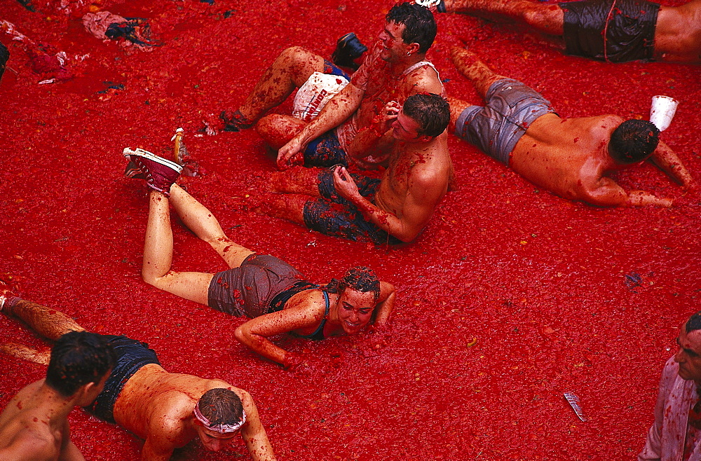 People at the tomato festival, Tomatina, Tomato Festival, Bunol, Valencia, Spain