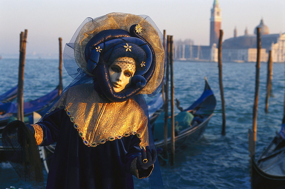 Disguided person with mask at carnival, Venice, Veneto, Italy, Europe