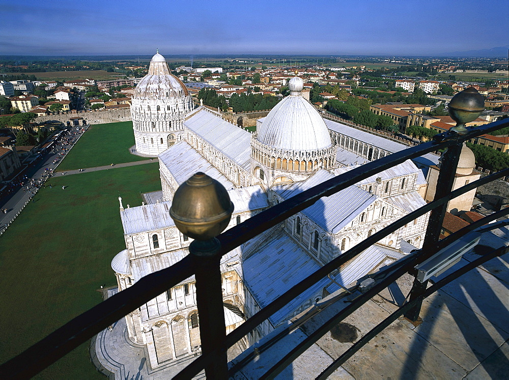 View from Leaning Tower to Cathedral, Pisa, Tuscany, Italy