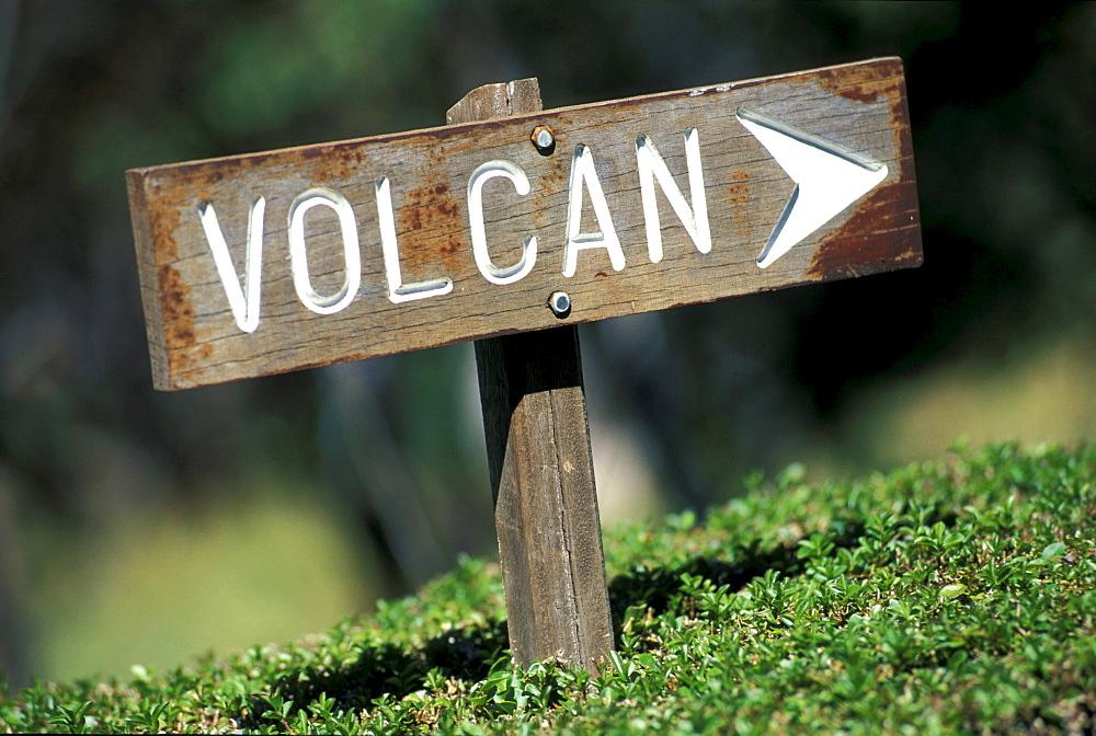 Signpost for the volcano, Gite de Volcan, Piton de la Fournaise, Ille de la RÈunion, Indian Ocean