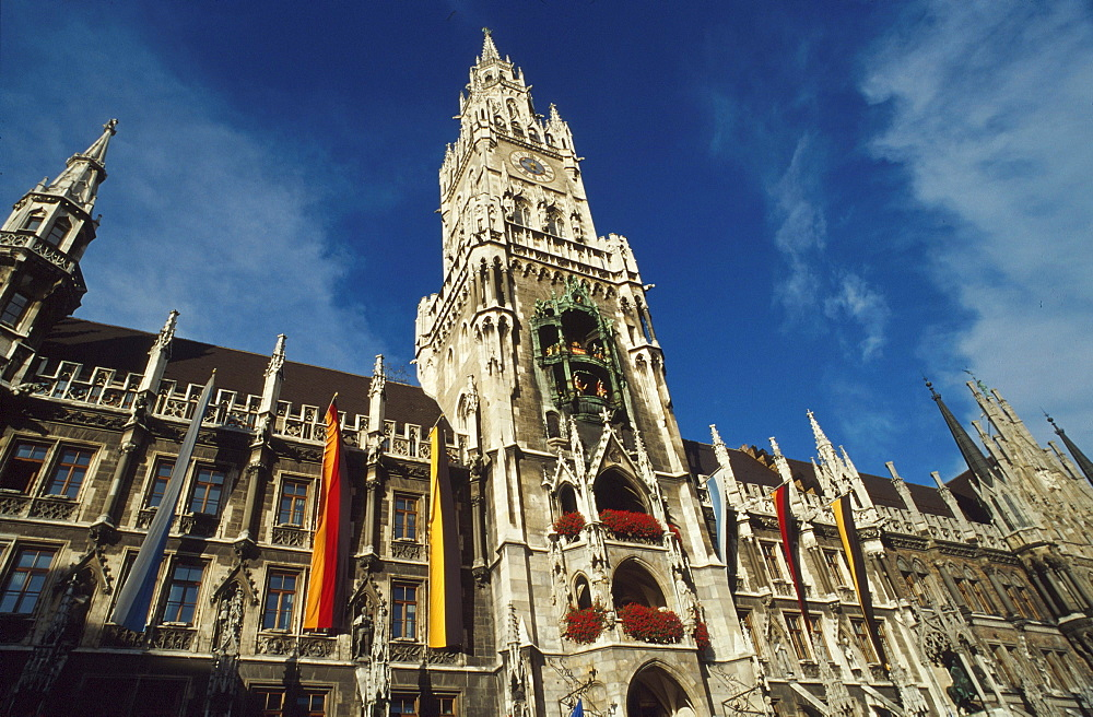 Low angle view at the New Town Hall, Munich, Bavaria, Germany, Europe