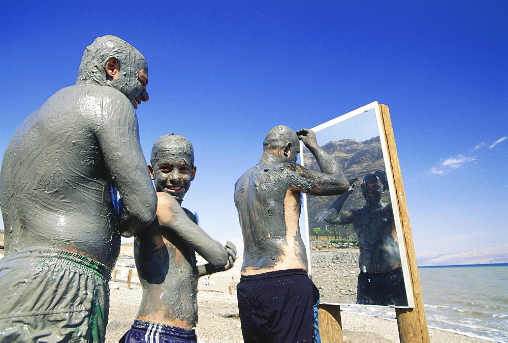 Guests covered in mud, Mizpe, Shalom, Dead sea, Israel - 1113-57161