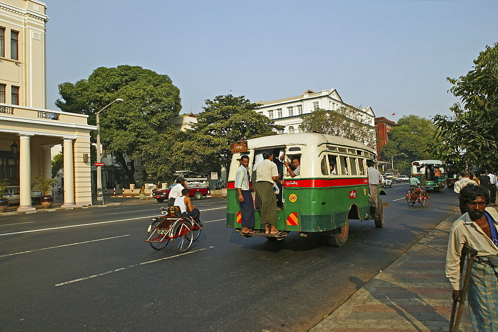 public transport, city bus in Yangon, Myanmar