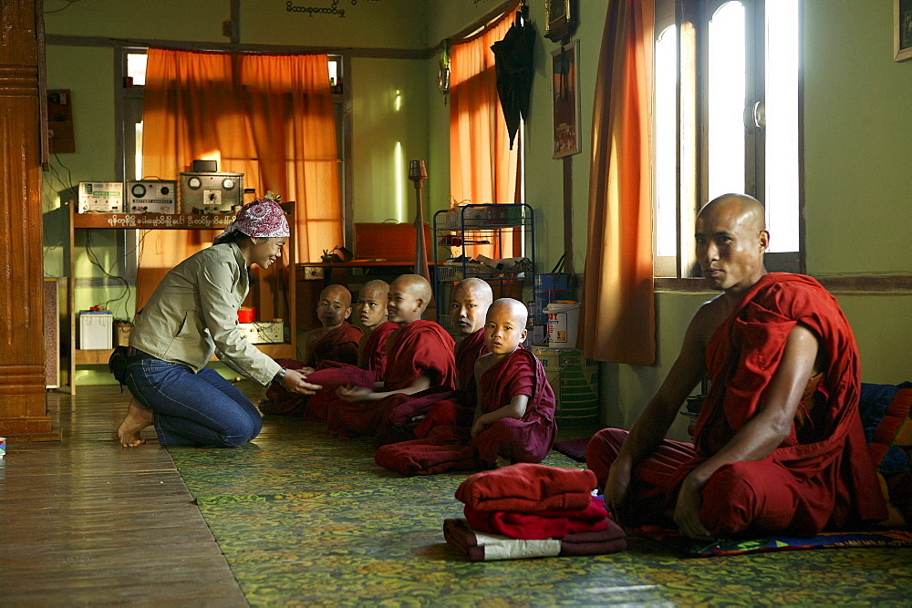 young monks sitting, Burma, Myanmar
