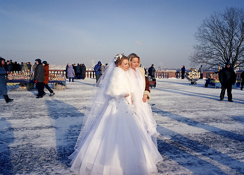 Bride with bridesmaid, Marriage, Sparrow Hills, Moscow, Russia