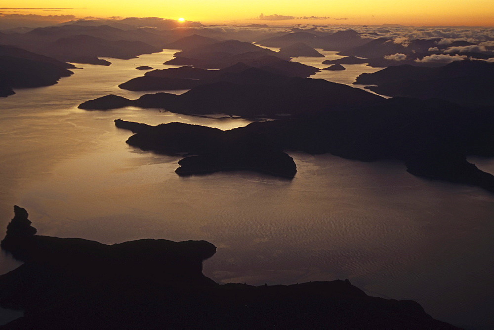 Aerial view of Marlborough Sounds at sunset, New Zealand, Oceania