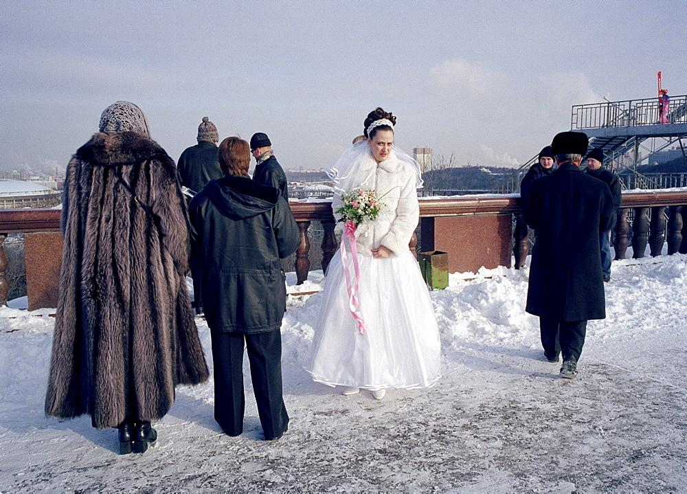 Bride with bouquet of flowers, Marriage, Sparrow Hills, Moscow, Russia