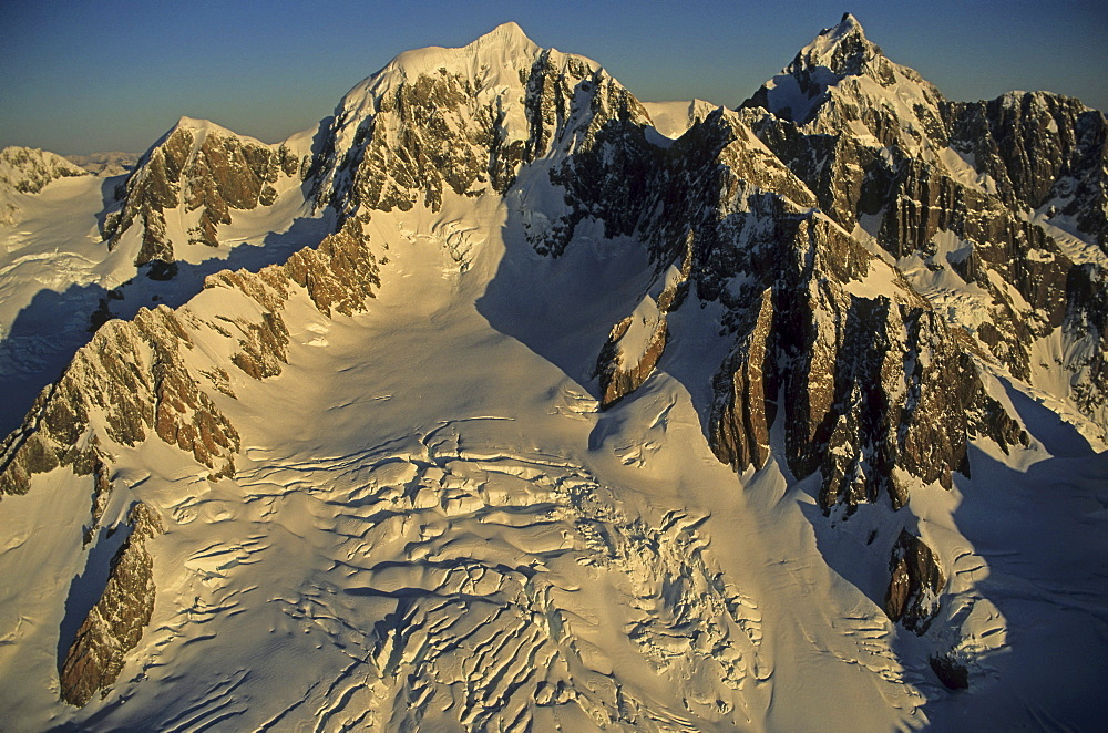 Mount Tasman and Mount Cook at Southern Alps, Westland National Park, South Island, New Zealand, Oceania
