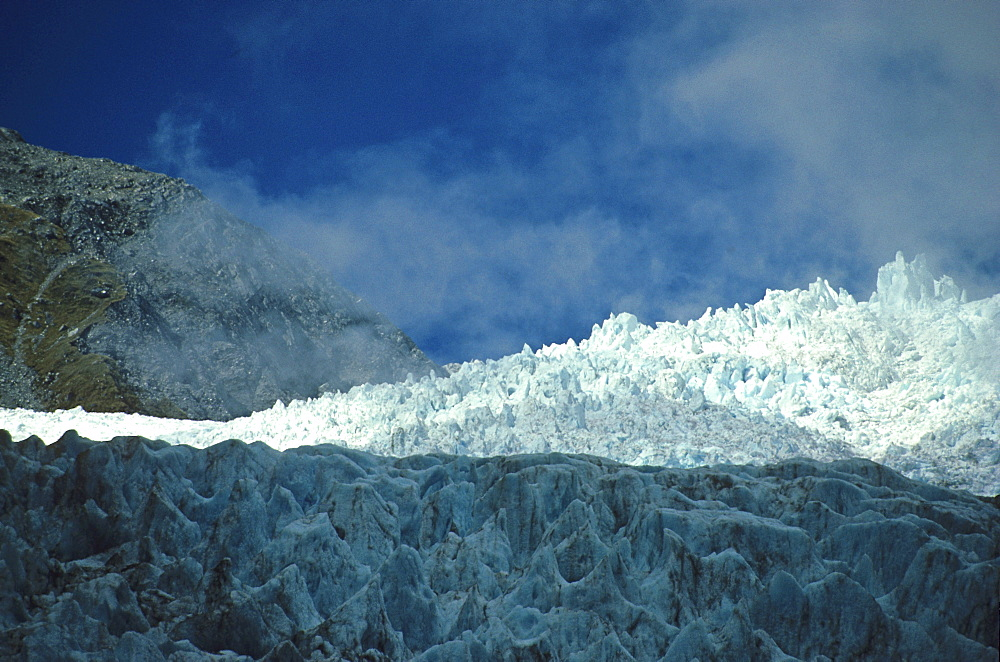 View of Franz Joseph Glacier, Terminal face of Glacier, Southern Alps, South Island, New Zealand, Oceania