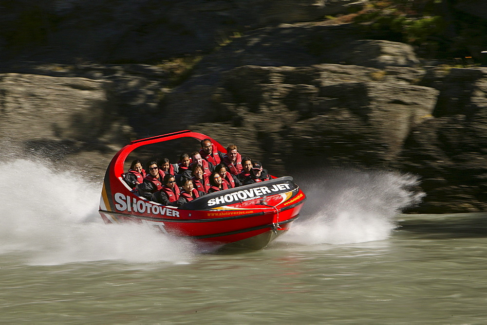 People in a Jetboat on Shotover River, Queenstown, Central Otago, South Island, New Zealand, Oceania - 1113-58112