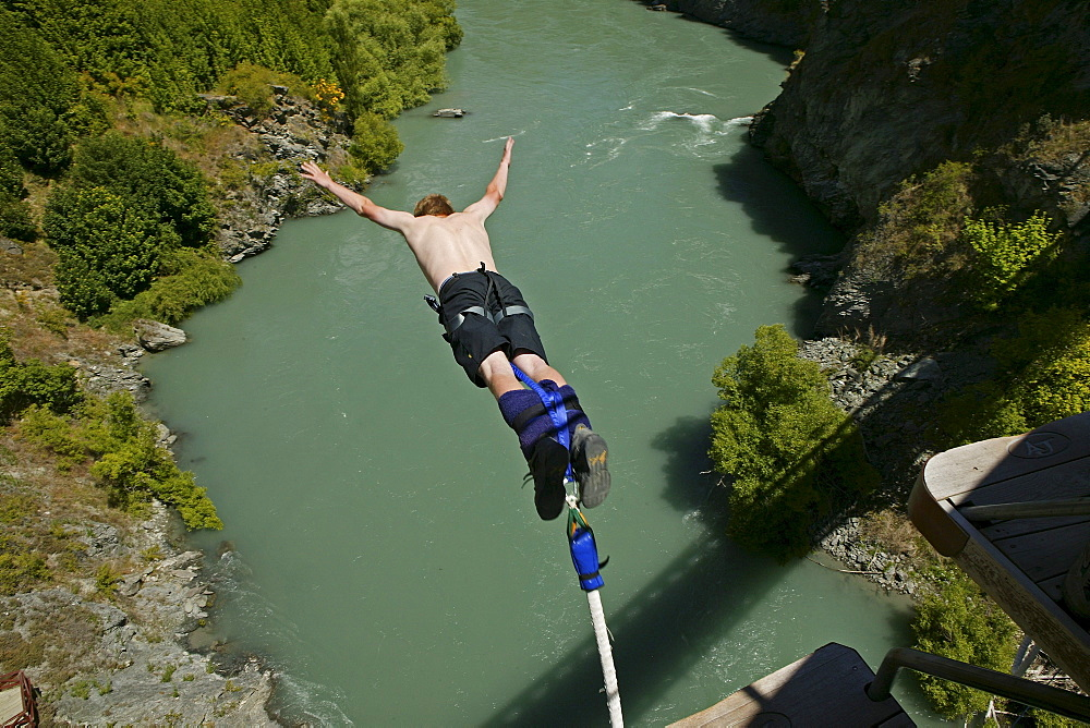 Bungee jumping above Karawau River from Kawarau suspension bridge, Queenstown, New Zealand - 1113-58116