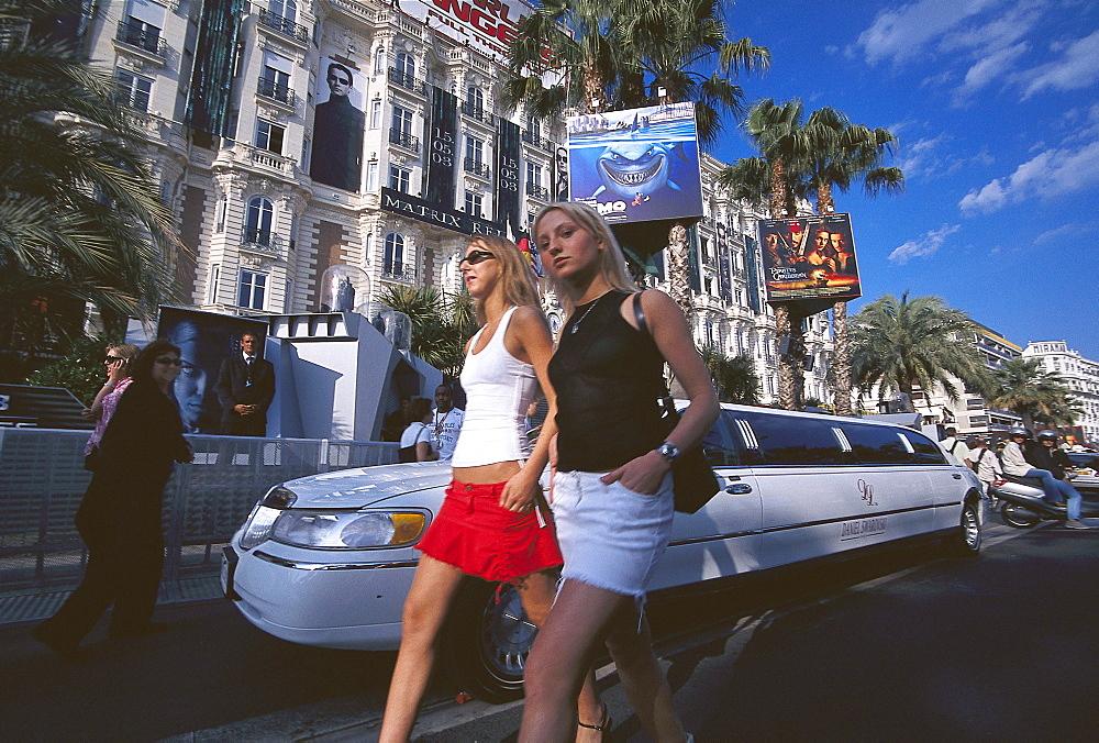 Film Festival, Stretch limousine in front of Hotel Carlton, Boulevard de la Croisette, Cannes, Cote d'Azur, France