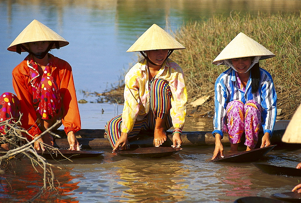 Gold seekers at a river, Nha Trang, Vietnam, Asia