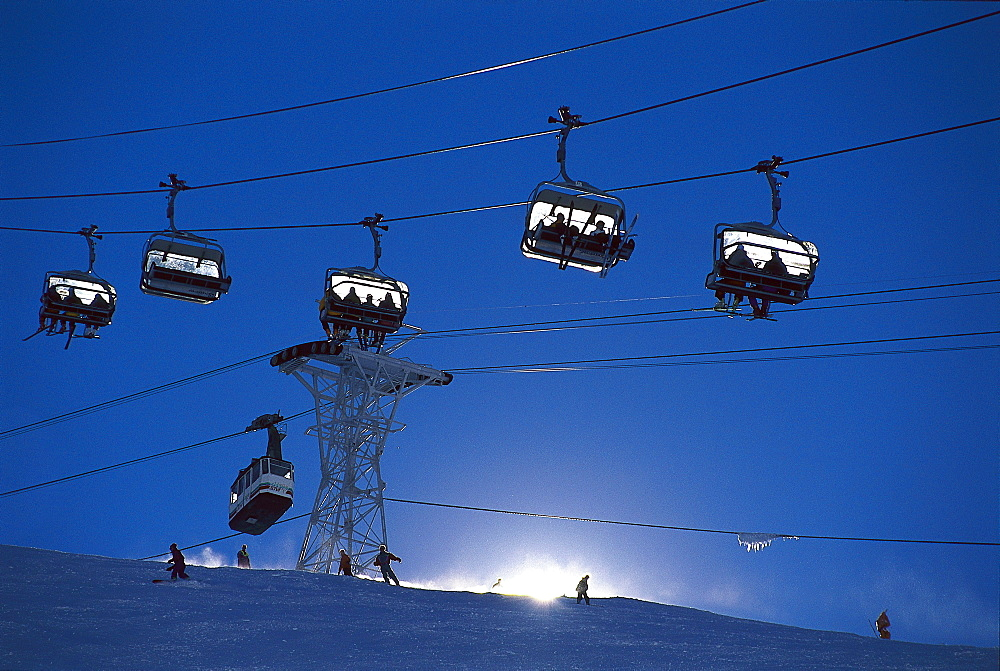 Ski lift and chair lift in the skiing area of Tignes, Winter sports, Savoie, France