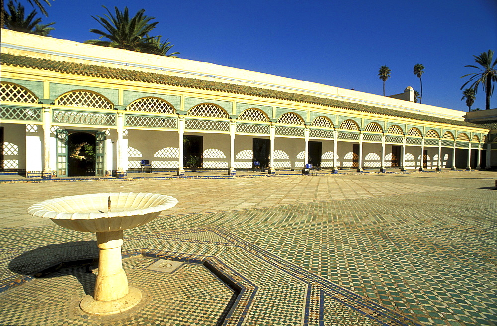 View over Bahia square in the sunlight, Marrakesh, Morocco, Africa