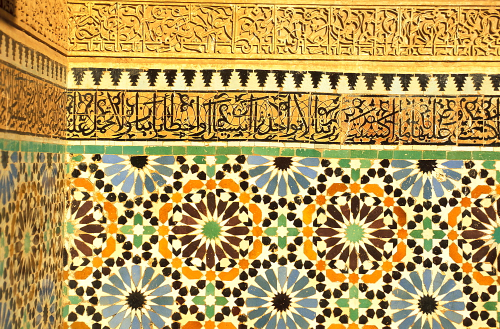 Detail inside the Saadien tomb, Marrakesh, Morocco, Africa