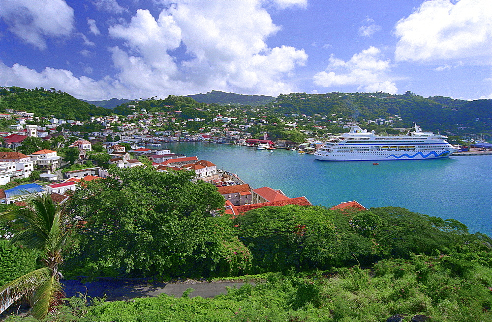 Cruise ship AIDA at harbour of St.George¥s, Grenada, Caribbean, America