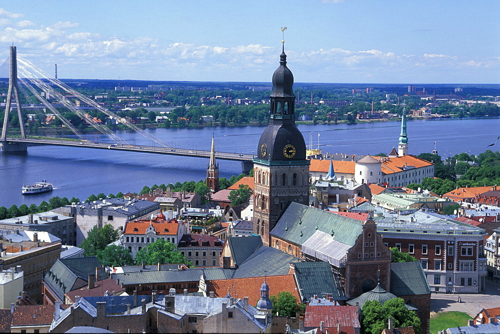 View at the cathedral and the houses of Riga at the river Daugava, Riga, Latvia, Europe
