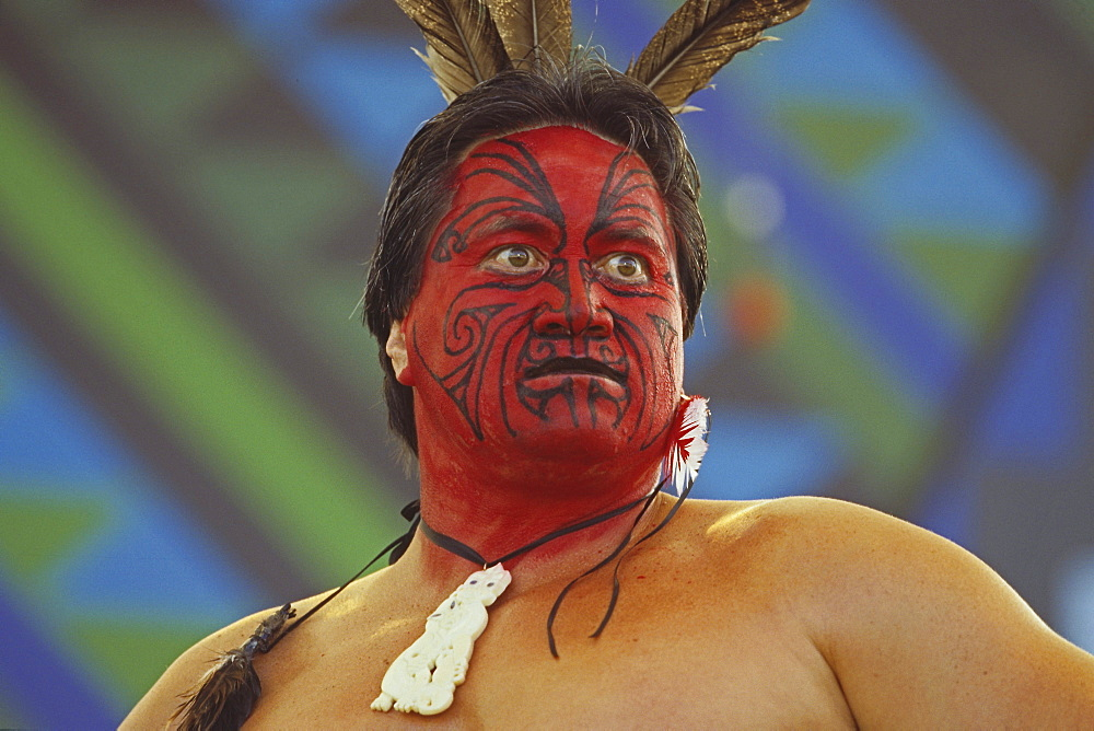 Maori with facial painting and Moko tattoo at festival, Rotorua, North Island, New Zealand, Oceania