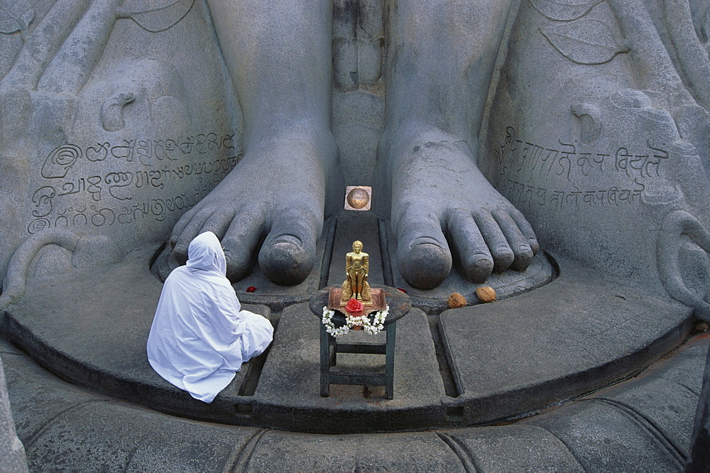 Feets of the 17m huge Sri Gometeswara Statue, Jain Saint, Sravanabelagola, Karnataka, India
