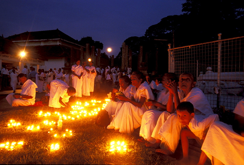 Poya festivity, Maha Bodi Temple, Anuradhapura, North Central Province, Sri Lanka