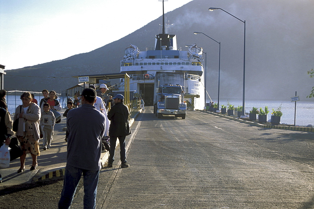 People in front of the ferry at Topolobampo, Sonora, Mexico, America
