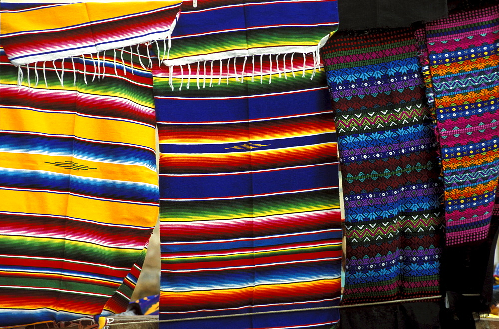 Hand loomed cloths on the market at St. Domingo, San Christobal, Chiapas, Mexico, America
