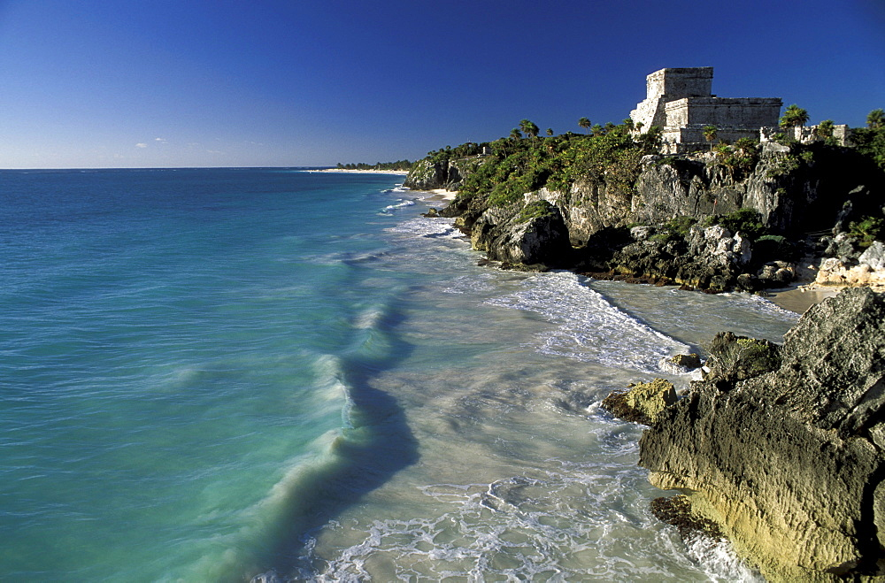 Ruin of Tulum at the coast, Yucatan, Quintana Roo, Mexico, America