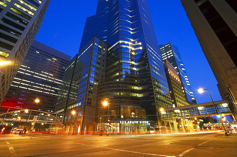 Street and high rise buildings at night, Twin Cities, Minneapolis, Minnesota USA, America