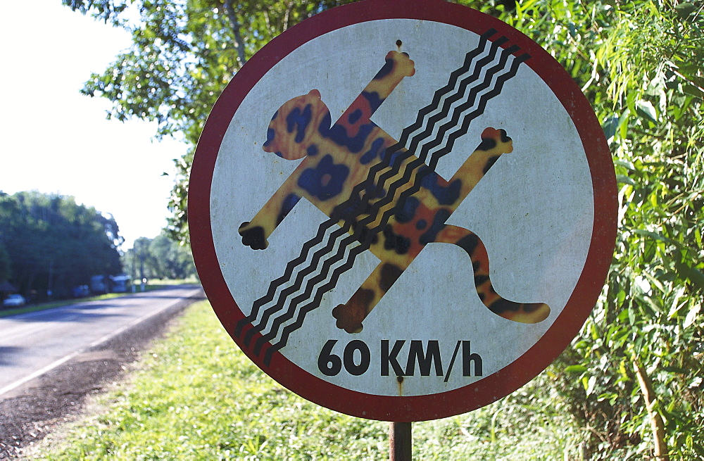 Beware of animals, humorous traffic sign, warning sign, Iguassu National Park, Brazil, South America