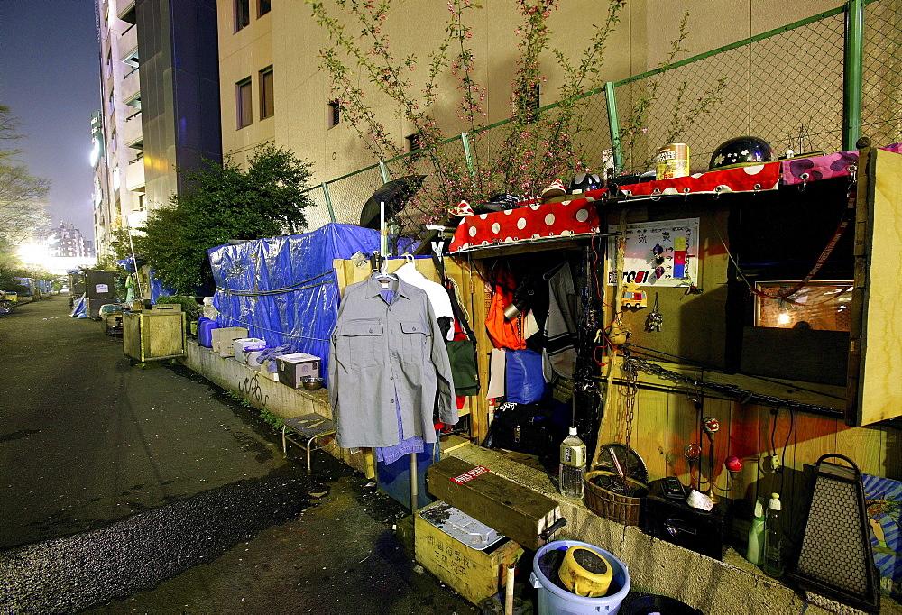 Homeless shelter in back lane, Shibuya, Tokyo