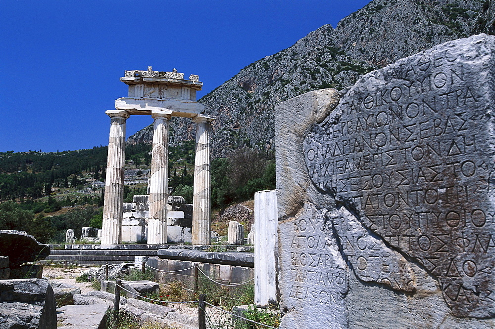 Tholos temple at the sanctuary of Athena Pronaia, was a circular building, Delphi, Greece