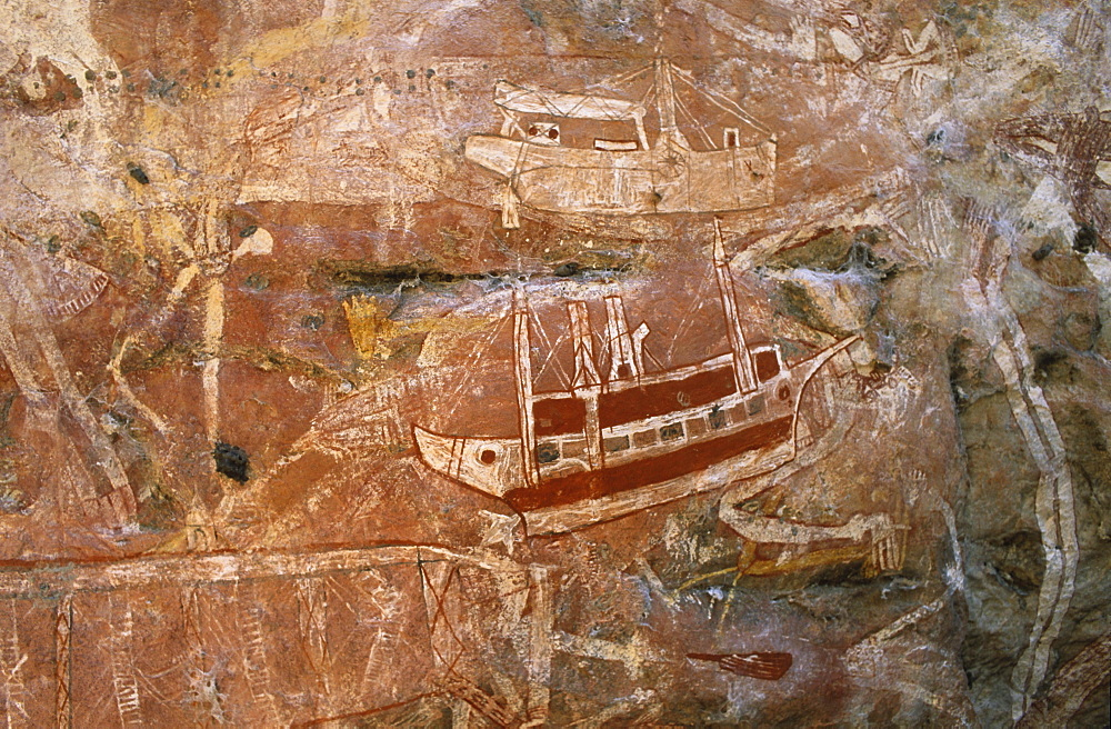Aboriginal art site, kontakt-period, Australien, Northern Territory, Aboriginal rock art galleries, Davidson Arnhemland Safaris, Mount Borradaile, contact period, painting of an early boat