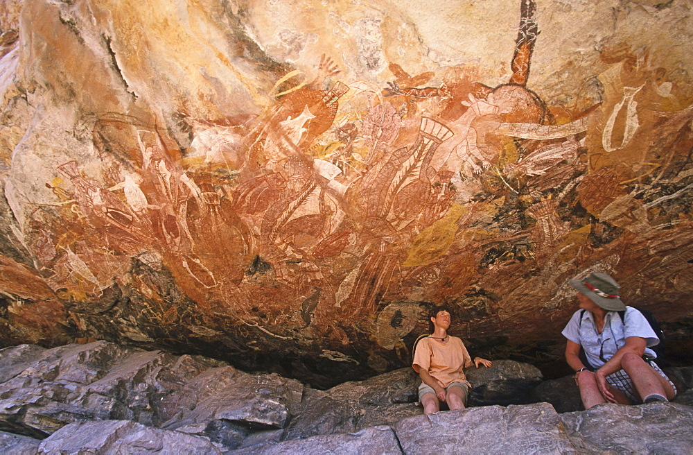 Rock paintings in the X-Ray style, Aboriginal art, Injaluk Hill, Davidson Safaris, Aboriginal rock art galleries, Davidson Arnhemland Safaris, Northern Territory, Top End, Australia