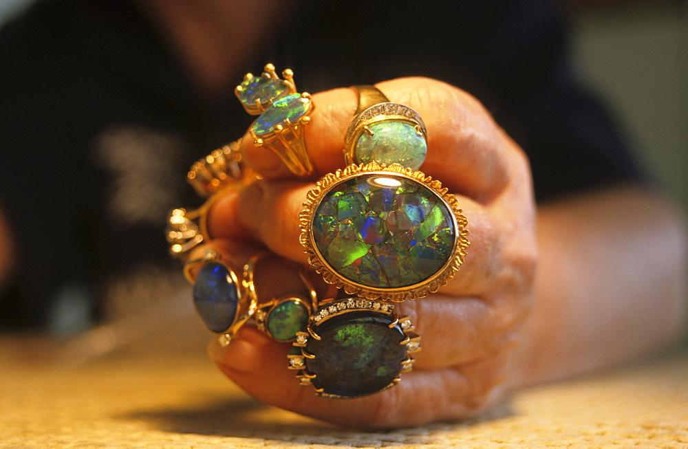 opal rings on hand, NSW, Australia