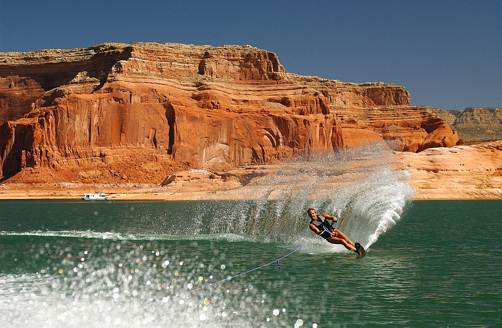 Man on a Monoski at Lake Powell, Arizona, USA