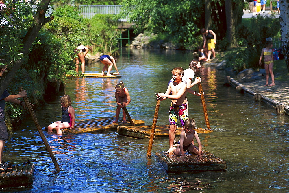 Children on a raft, Leisure park Lochmuehle Taunus, Hesse, Germany, Hesse, Germany, Europe