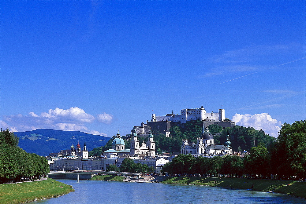 View at old town with cathedral and Fort Hohensalzburg at Salzach river, Salzburg, Salzburger Land, Austria, Europe