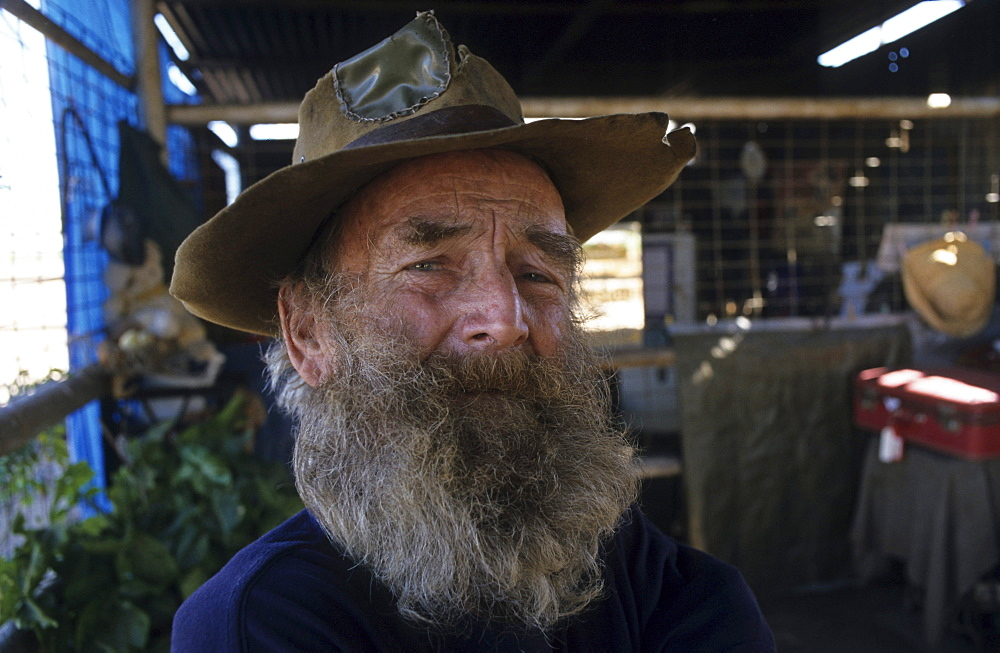 portrait of Leon, retired swagman, Winton, Matilda Highway, Queensland, Australia