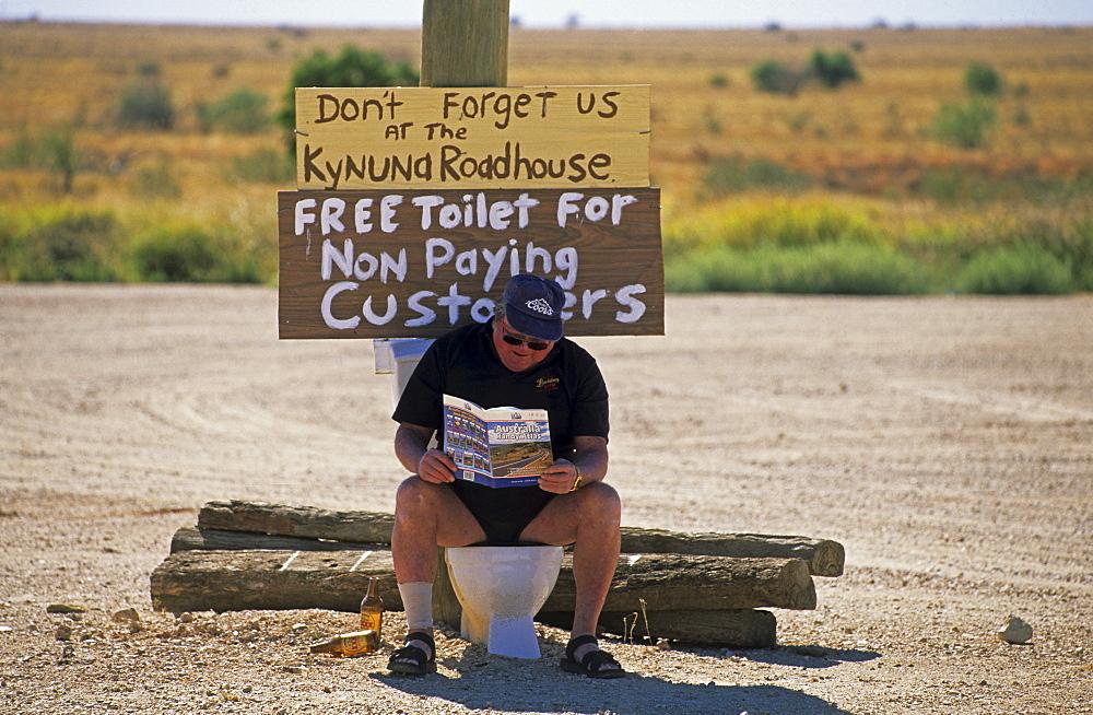 Outdoor toilet, Kynuna Roadhouse, Maltilda Highway, Queensland, Australia