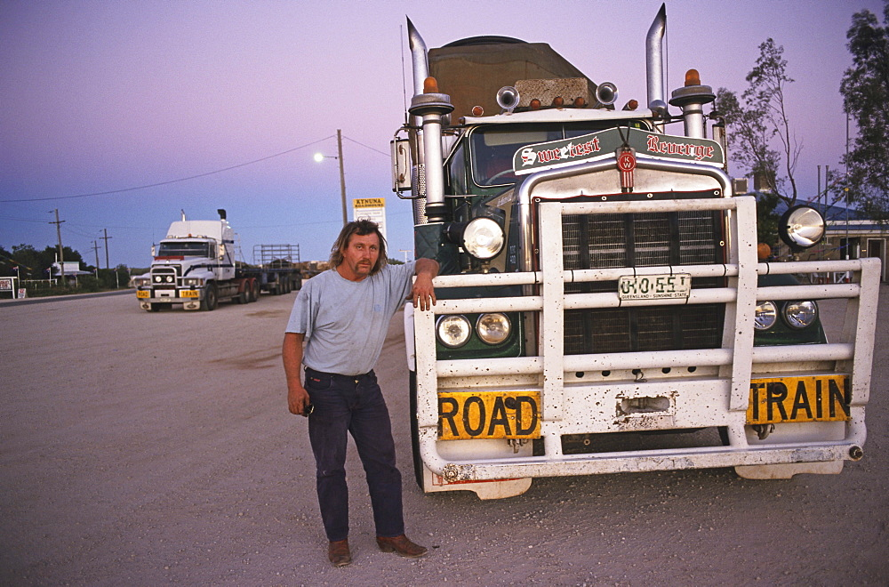 Truck driver and truck, at Kynuna Roadhouse, Queensland, Australia