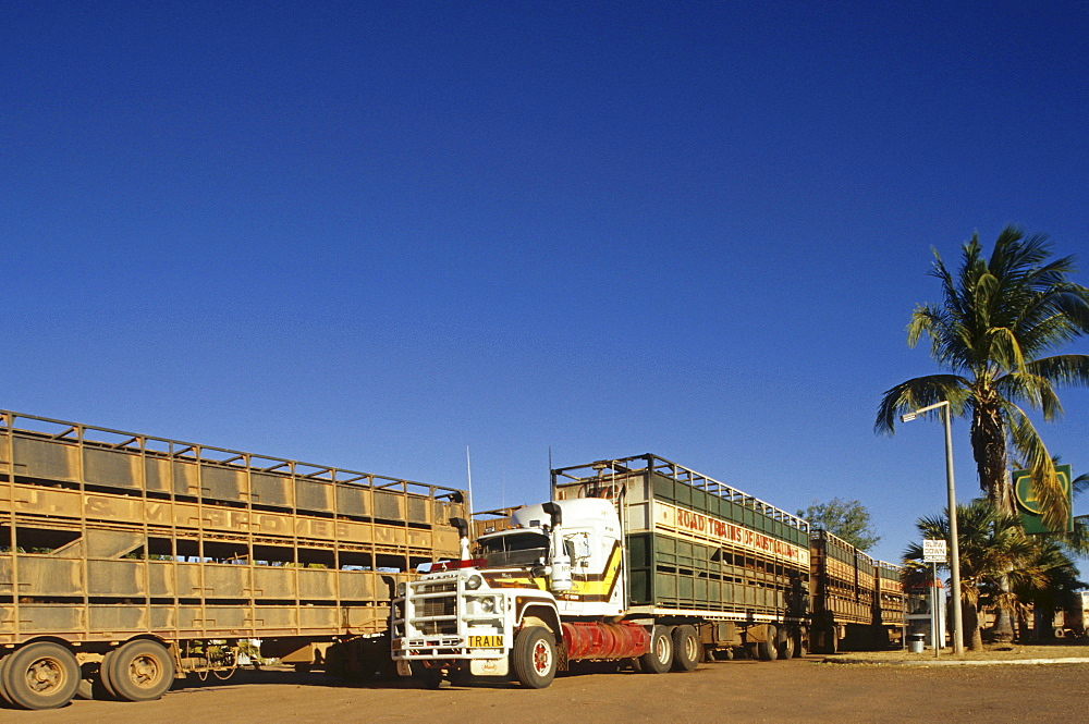 road trains, roadhouse, Stuart Highway, South Australia