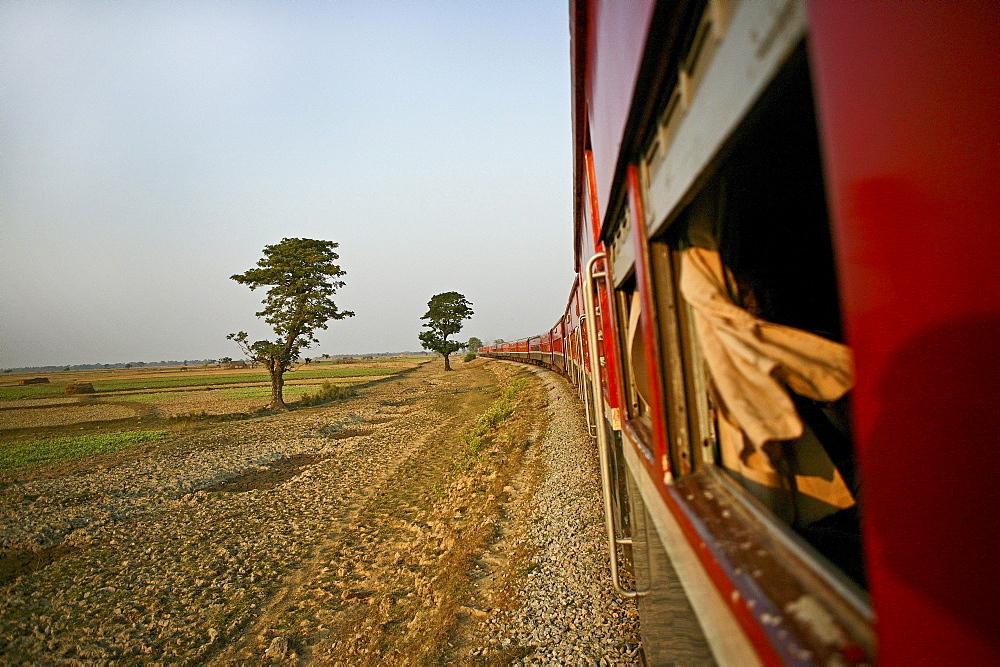 view from train window, Yangon to Thazi, Myanmar