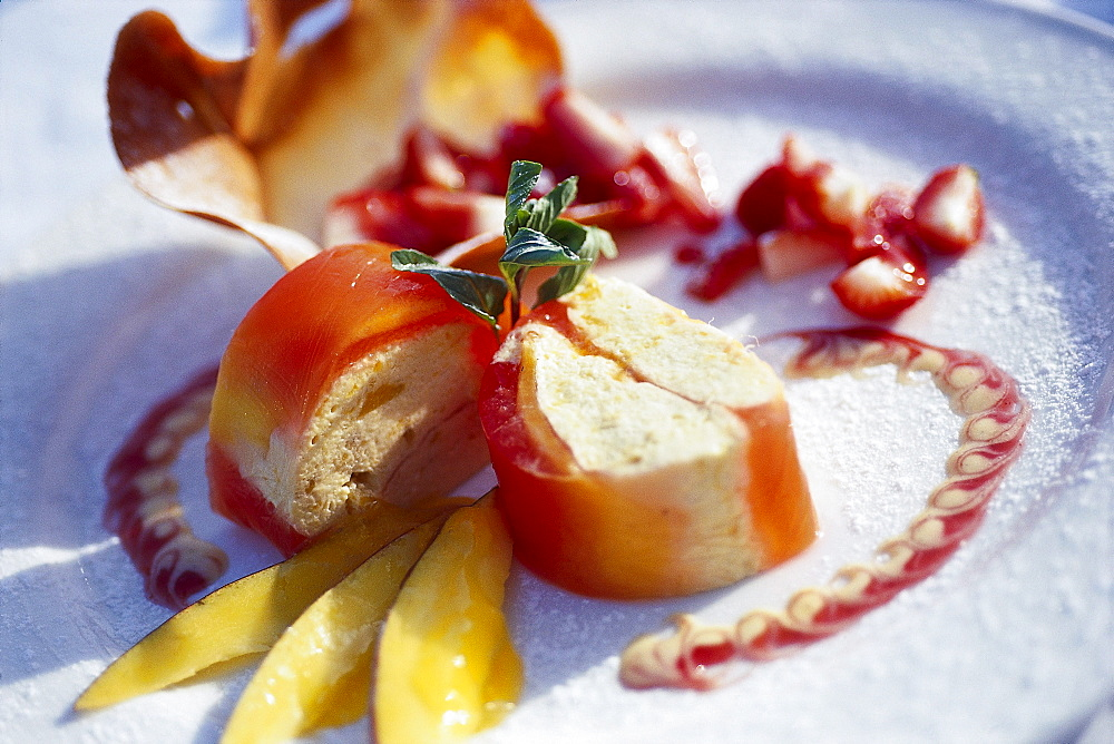 Orange cream on a plate, Hotel Son Net, Puigpunyent, Mallorca, Spain, Europe