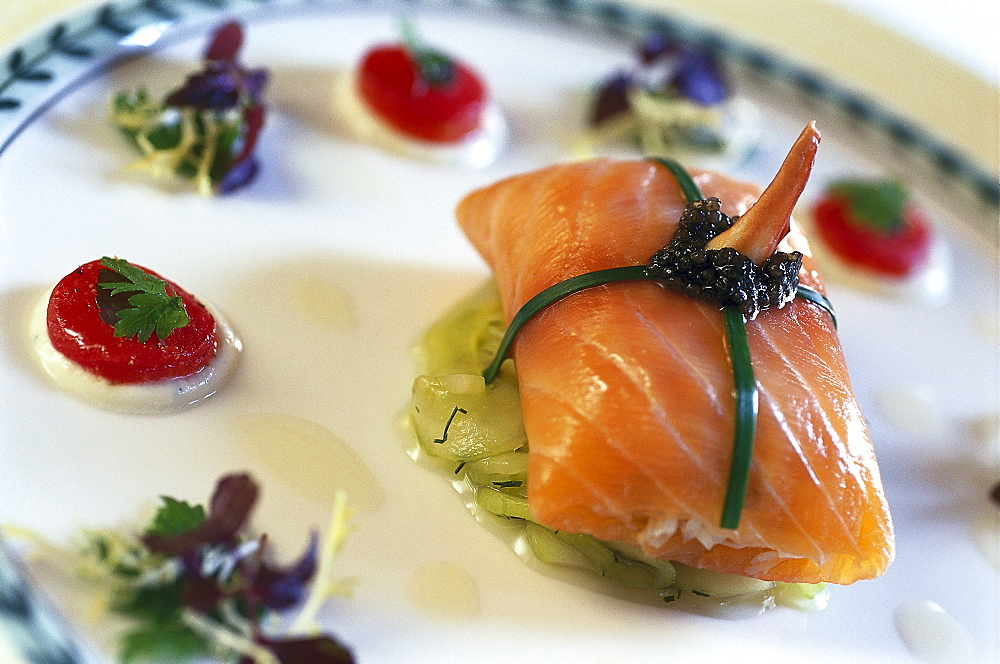 Salmon dish, Hotel Longuevelle, Manor, Jersey, Channel islands, Great Britain, Europe