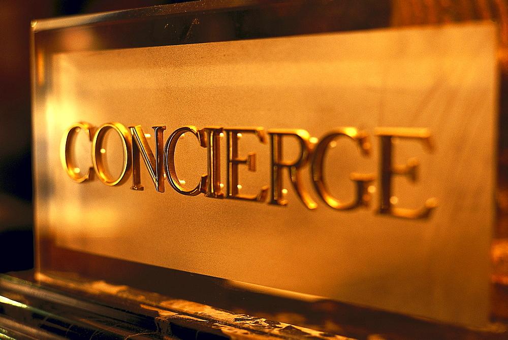 Concierge sign, Hotel Europa, Regina, Venice, Veneto, Italy