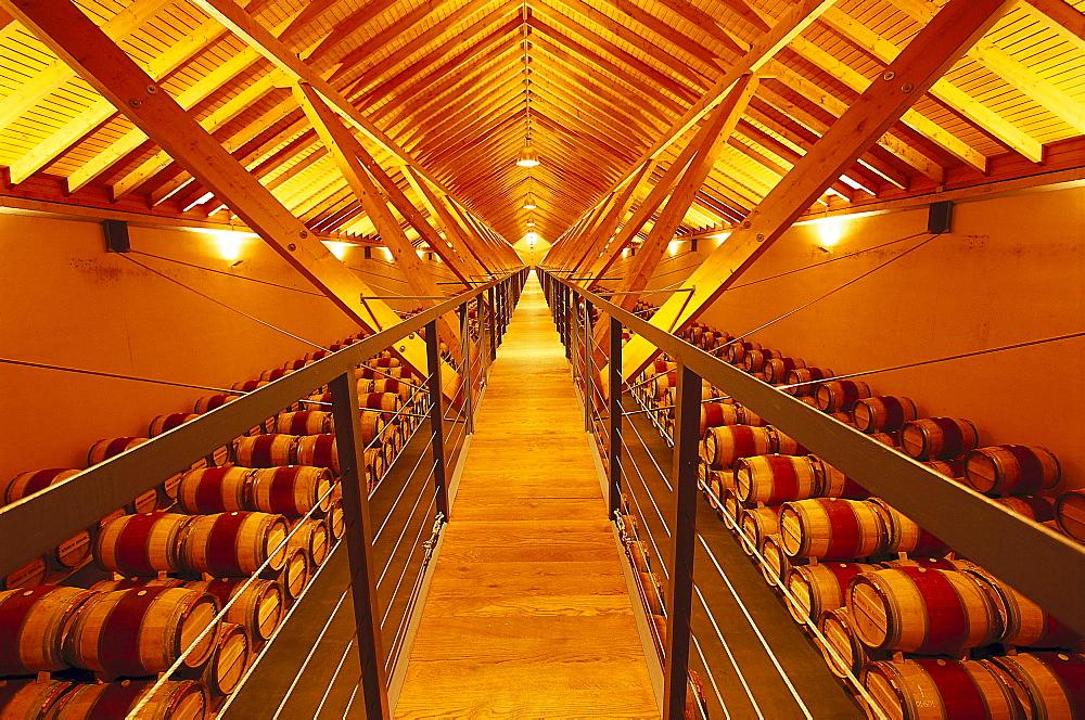 Storage room for wine barrels, Bodega Chivite, Navarra, Spain, Europe