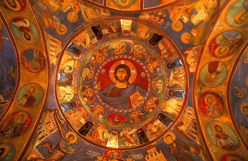 Christ Pantocrator fresco on vault of church, Galata, Cyprus