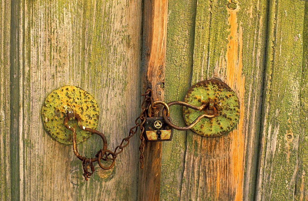 Padlock on a wooden door at the mountain village Galata, Cyprus